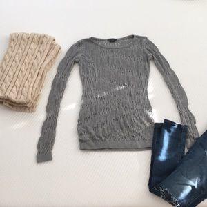 Armani Exchange gray crochet sweater size S