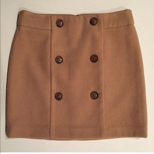 GAP Tan Brown Wool Blend Skirt with Buttons Size 0