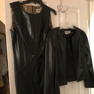 Faux leather sleeveless dress with jacket