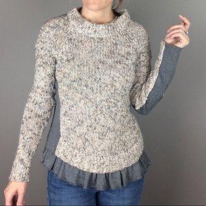 MOTH ruffle hem gray and cream sweater