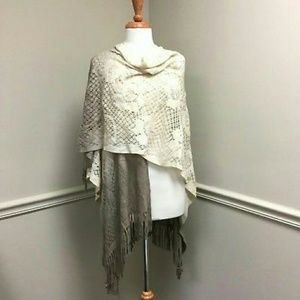 Steve Madden Knit scarf Poncho Wrap with Fringe.