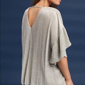 Anthropologie Metallic Ruffles Top - new with tags