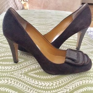 Brown heels with sparkle