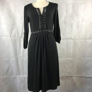 eci New York Beaded Dress Black 3/4 Sleeve Size 8