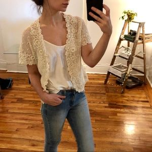 Vintage short sleeve crochet cardigan from China