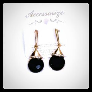 Accessorize, New, Black & Gold Chiseled Earrings