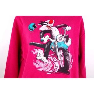 WB RARE Sylvester Cat Motorcycle 1990 Sweatshirt