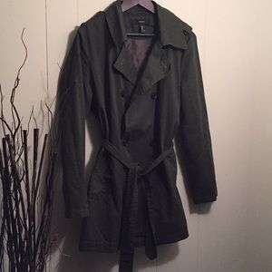 Olive green waist trench