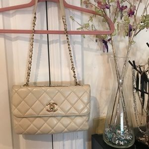Ivory gold plated Chanel bag
