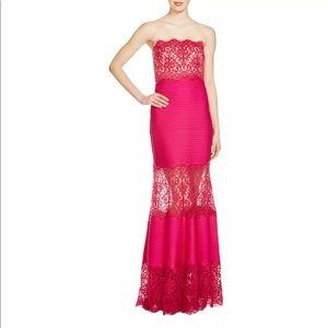 Tadashi Shoji Women Pink Lace Evening Gown PXL