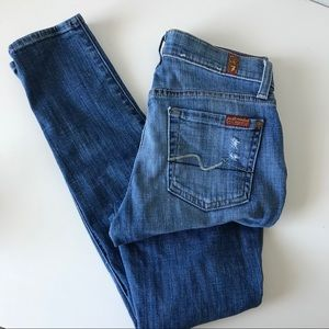 7 for all Mankind Lightly Distressed Skinny Jeans