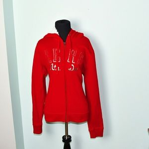 Aeropostale Signature Red and White Zip Up Sweater