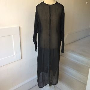Eileen Fisher Sheer Button Down Overlay Long Tunic