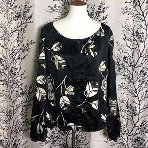 WHBM Black Peasant Pin-Tuck blouse
