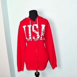 Adorable USA Red Zip Up Sweater