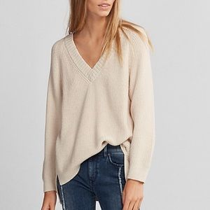 Express Oversized Deep V-Neck Tunic Sweater