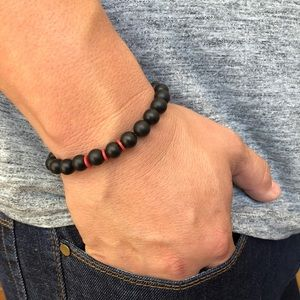 Handmade Mens Black Onyx Beaded Bracelet