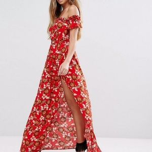 Bohemian Floral Off The Shoulder Red Maxi Dress