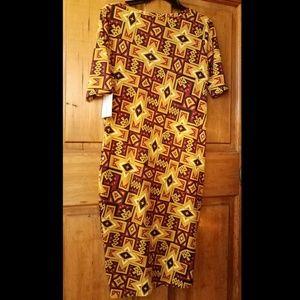 NEW! LuLaRoe Julia dress brown gold tribal Aztec L