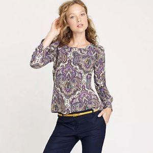 J.Crew Women's Purple Paisley Print Blouse SZ S