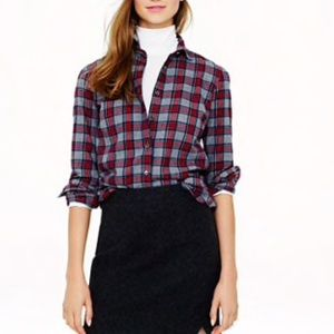 J. Crew Gray Tartan Plaid Boy Shirt