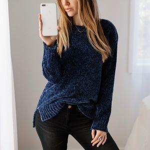 🆕Navy Chenille Slit Sweater