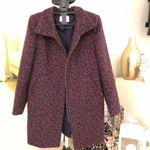 Maroon animal print pea coat 🧥
