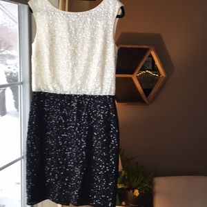 Sparkly Ann Taylor classy black and white dress!
