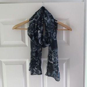 B&W floral print scarf
