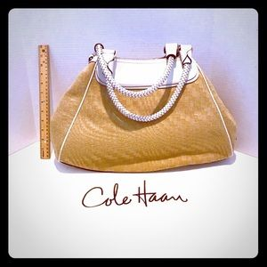 Large Cole Haan Straw and Leather Handbag