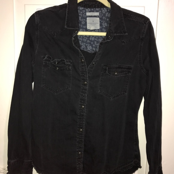 60% off American Eagle Outfitters Tops - Black Denim Button Down ...