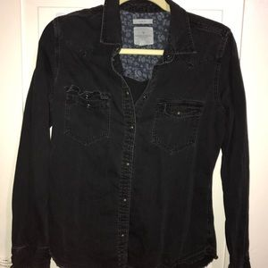 Black Denim Button Down Shirt