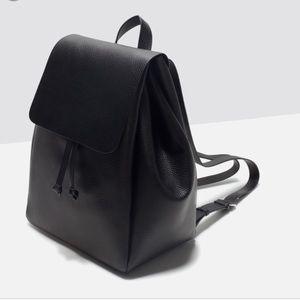 ZARA black leather backpack