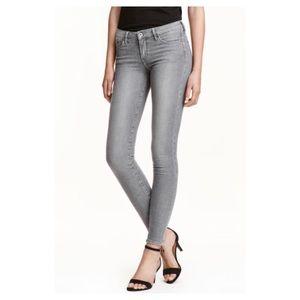 H&M Super Skinny Super Low Waist Gray Jeans SZ 3