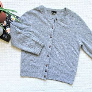 J. Crew wool cashmere blend gray cardigan sweater