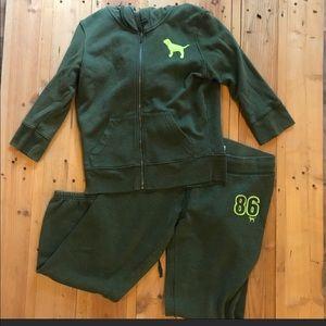 Victoria secret green tracksuit Set Size: L/M