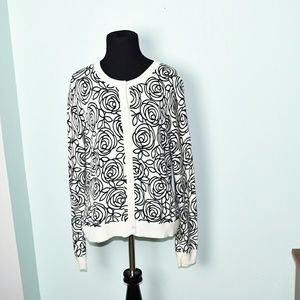 GAP Black and White Floral Sketch Cardigan