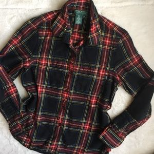Ralph Lauren Leather Elbow Patch Wool Plaid Shirt