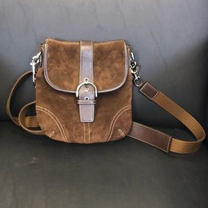 Brown Suede and Brown Leather Coach Crossbody