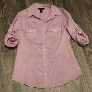 WHBM button up pinstriped blouse, 6