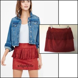 NWOT Express Faux-Suede Fringed Burnt Orange Skirt