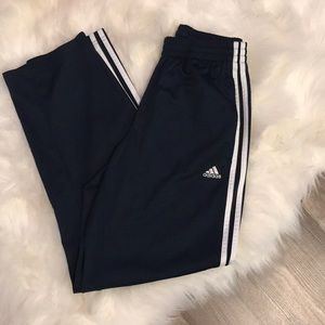 Navy and white adidas jogger track pants
