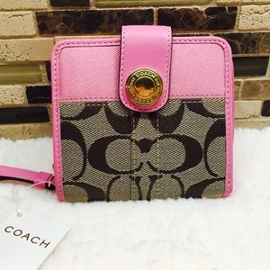 COACH Signature Stripe Medium BiFold Wallet  NEW