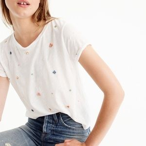 J. Crew Embellished Floral Tee NWT
