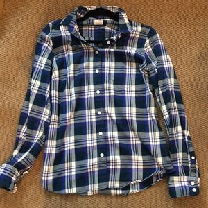 J. Crew The Perfect Shirt  in Blue Flannel