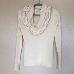 Anthropologie Iced Garland Cowl Neck Sweater