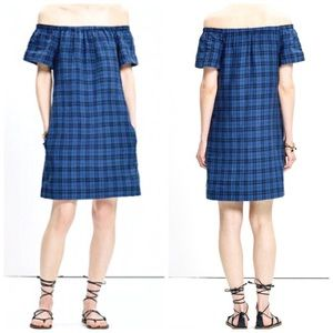 MADEWELL blue off the shoulder plaid dress size 6