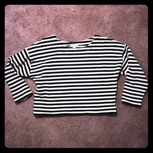 Black and white striped cropped sweater size:large