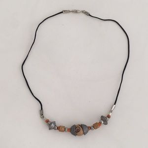 Vintage 1970s African Beaded Choker ROUND BEAD