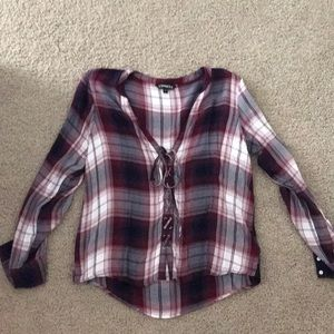 Express lace up flannel plaid shirt